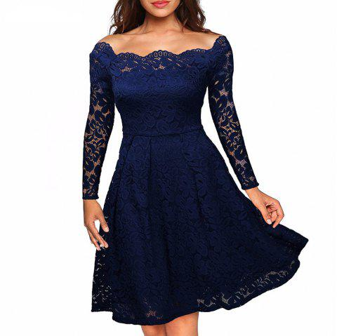 Robe Femme Embroidery Vintage Lace  Women Off Shoulder  Long Sleeve Casual Evening Party  Dress - DARK BLUE L