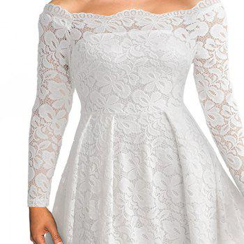 Robe Femme Embroidery Vintage Lace  Women Off Shoulder  Long Sleeve Casual Evening Party  Dress - WHITE M