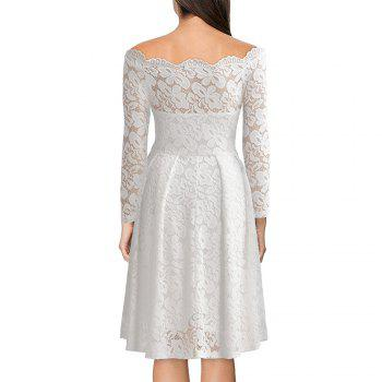 Robe Femme Embroidery Vintage Lace  Women Off Shoulder  Long Sleeve Casual Evening Party  Dress - WHITE L
