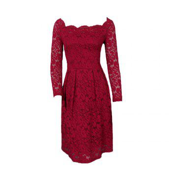 Robe Femme Embroidery Vintage Lace  Women Off Shoulder  Long Sleeve Casual Evening Party  Dress - WINE RED WINE RED