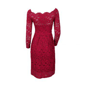 Robe Femme Embroidery Vintage Lace  Women Off Shoulder  Long Sleeve Casual Evening Party  Dress - WINE RED L
