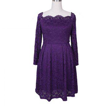 Robe Femme Embroidery Vintage Lace  Women Off Shoulder  Long Sleeve Casual Evening Party  Dress - PURPLE PURPLE
