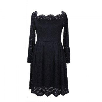 Robe Femme Embroidery Vintage Lace  Women Off Shoulder  Long Sleeve Casual Evening Party  Dress - BLACK BLACK