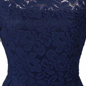 Robe Femme Embroidery Vintage Lace  Women Off Shoulder  Long Sleeve Casual Evening Party  Dress - DARK BLUE 2XL