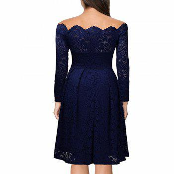 Robe Femme Embroidery Vintage Lace  Women Off Shoulder  Long Sleeve Casual Evening Party  Dress - DARK BLUE M