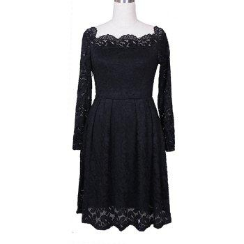 Robe Femme Embroidery Vintage Lace  Women Off Shoulder  Long Sleeve Casual Evening Party  Dress - BLACK M