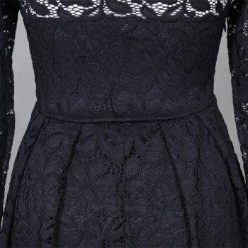 Robe Femme Embroidery Vintage Lace  Women Off Shoulder  Long Sleeve Casual Evening Party  Dress - BLACK XL