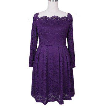 Robe Femme Embroidery Vintage Lace  Women Off Shoulder  Long Sleeve Casual Evening Party  Dress - PURPLE M