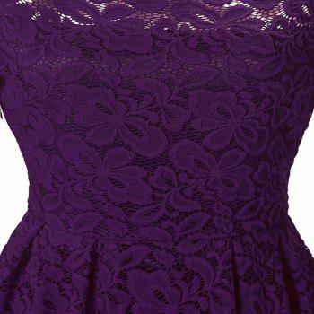 Robe Femme Embroidery Vintage Lace  Women Off Shoulder  Long Sleeve Casual Evening Party  Dress - PURPLE 2XL