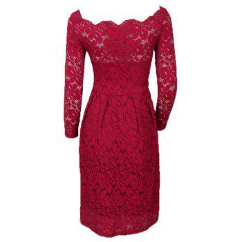 Robe Femme Embroidery Vintage Lace  Women Off Shoulder  Long Sleeve Casual Evening Party  Dress - WINE RED XL