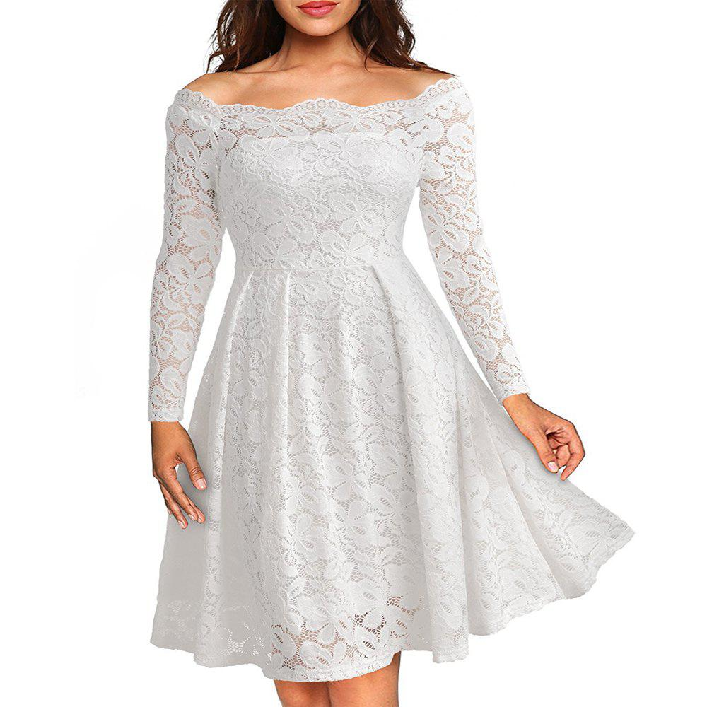Robe Femme Embroidery Vintage Lace  Women Off Shoulder  Long Sleeve Casual Evening Party  Dress - WHITE S