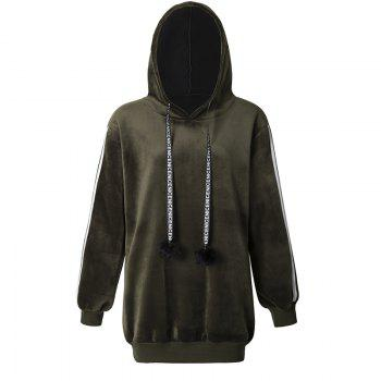 Women's Fashion Striped Velvet Plus Cashmere Long-Sleeved Hooded Sweatshirt - GREEN GREEN
