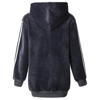 Women's Fashion Striped Velvet Plus Cashmere Long-Sleeved Hooded Sweatshirt - GRAY L