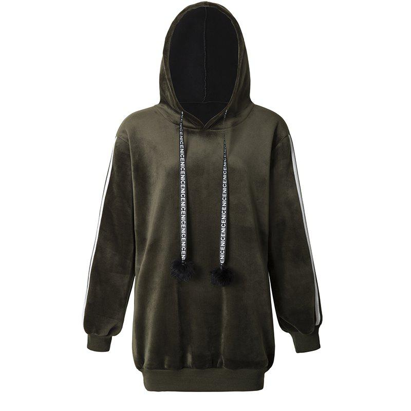 Women's Fashion Striped Velvet Plus Cashmere Long-Sleeved Hooded Sweatshirt - GREEN M