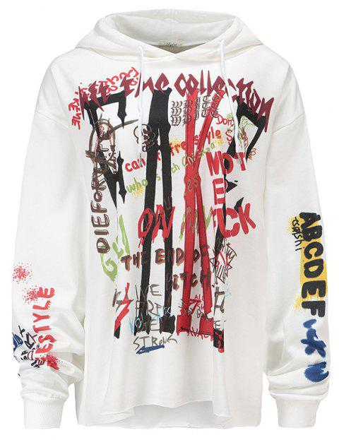 Women's Fashion Large Size Graffiti Print Long-Sleeved Hooded Sweatshirt - WHITE L