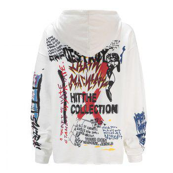 Women's Fashion Large Size Graffiti Print Long-Sleeved Hooded Sweatshirt - WHITE XL