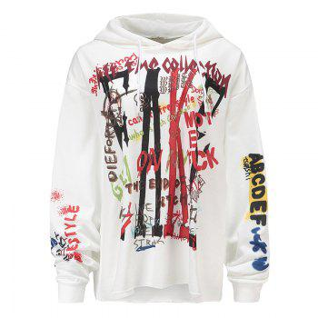 Women's Fashion Large Size Graffiti Print Long-Sleeved Hooded Sweatshirt - WHITE WHITE