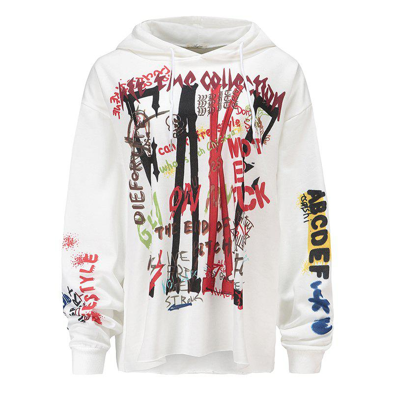 Women's Fashion Large Size Graffiti Print Long-Sleeved Hooded Sweatshirt - WHITE M