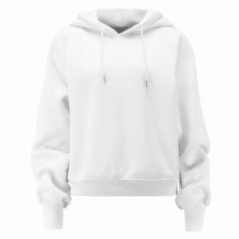 Women's Fashion Large Size Loose Long-Sleeved Plus Cashmere Hoodies - WHITE L
