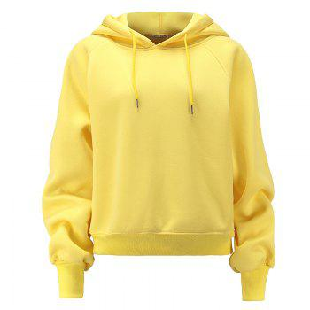 Women's Fashion Large Size Loose Long-Sleeved Plus Cashmere Hoodies - YELLOW YELLOW