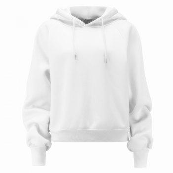 Women's Fashion Large Size Loose Long-Sleeved Plus Cashmere Hoodies - WHITE WHITE