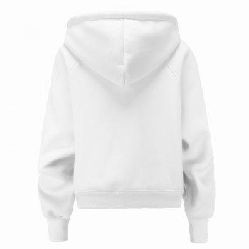 Women's Fashion Large Size Loose Long-Sleeved Plus Cashmere Hoodies - WHITE M