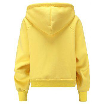 Women's Fashion Large Size Loose Long-Sleeved Plus Cashmere Hoodies - YELLOW XL