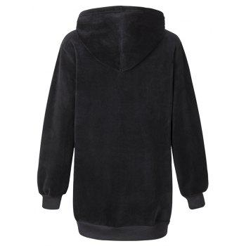 Women's Fashion Plus Velvet Thickening Letters Hoodies - BLACK XL