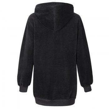 Women's Casual Fashion Letters Embroidered Long-Sleeved Hooded Sweatshirt - BLACK BLACK