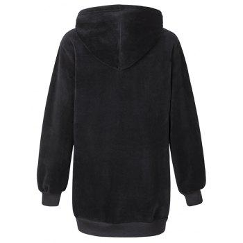 Women's Casual Fashion Letters Embroidered Long-Sleeved Hooded Sweatshirt - BLACK M