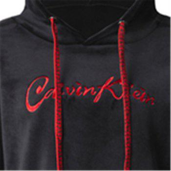 Women's Casual Fashion Letters Embroidered Long-Sleeved Hooded Sweatshirt - BLACK XL