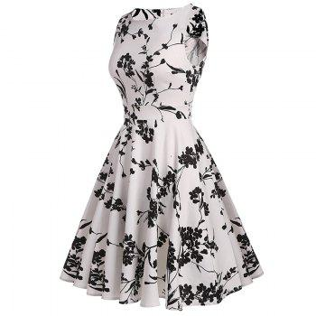 Women's Retro Round Neck Print Waist Dress - WHITE S