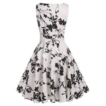 Women's Retro Round Neck Print Waist Dress - WHITE 2XL