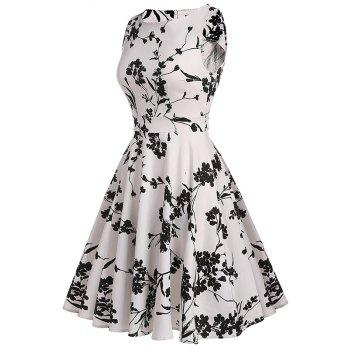 Women's Retro Round Neck Print Waist Dress - WHITE XL