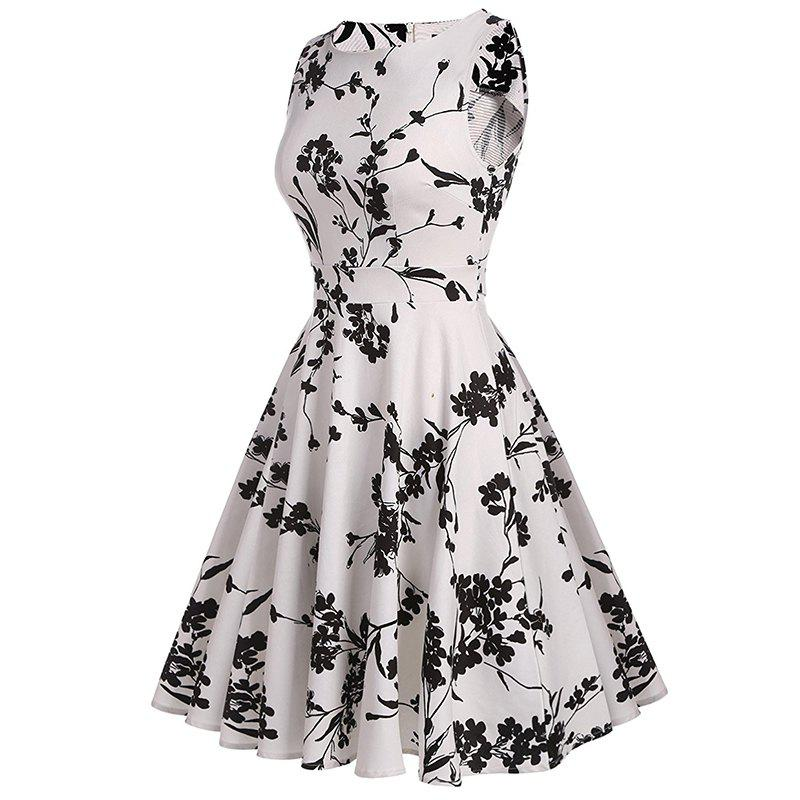 Women's Retro Round Neck Print Waist Dress - WHITE L