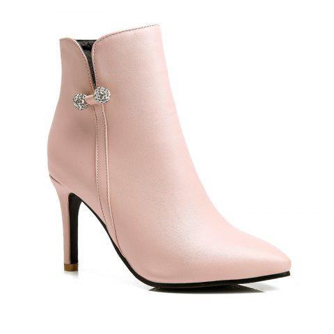 Women Shoes Stiletto Heel Pointed Toe Ankle Boots - PINK 39