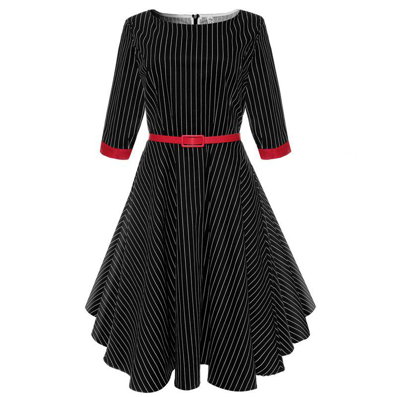 2018 New Short-Sleeved Cotton Striped Vintage Audrey Hepburn Dress Belt - STRIPE S