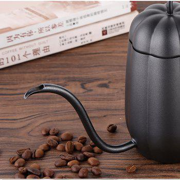 Hand Drip Pumpkin Kettle Pour Over Coffee and Tea Pot Premium Stainless Steel with Copper Coating 450ml Copper -  BLACK