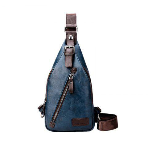 Men's Chest Bag Crossbody Movement Chest Small Backpack Shoulder Bag Leather Youth Student P002 - BLUE 17CM36CM4CM
