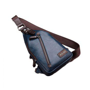 Men's Chest Bag Crossbody Movement Chest Small Backpack Shoulder Bag Leather Youth Student P002 - BLUE BLUE
