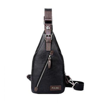 Men's Chest Bag Crossbody Movement Chest Small Backpack Shoulder Bag Leather Youth Student P002 - BLACK BLACK