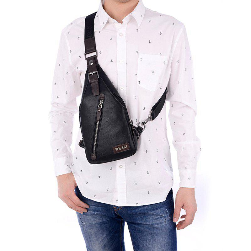 Men's Chest Bag Crossbody Movement Chest Small Backpack Shoulder Bag Leather Youth Student P002 - BLACK 17CM36CM4CM