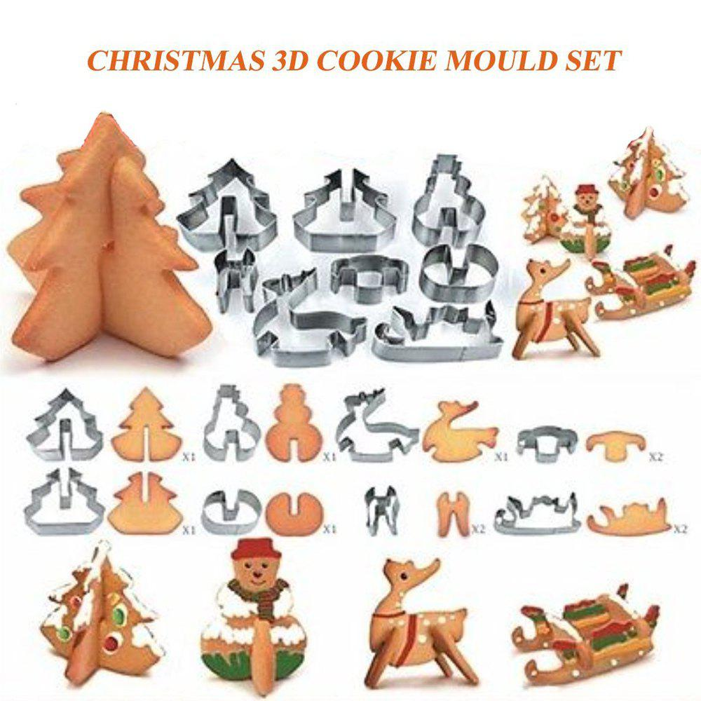 Creative 3D Christmas Biscuit Mold Stainless Steel Cookie Cutter Sugar Cake Mold Fondant Cake Decoration Tools DIY Bakin stainless steel vegetable fruit biscuit cookie cutter mold set 21 pcs
