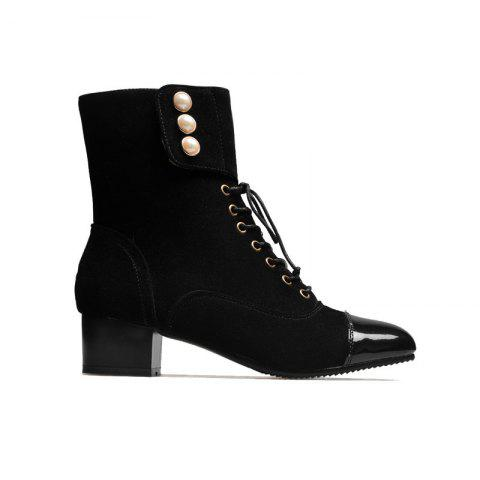 Low-Heeled Square with Thick Cashmere Patent Leather Fashion Boots - BLACK 34