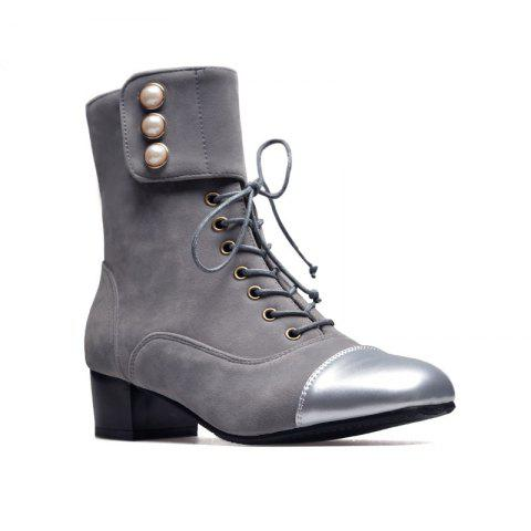 Low-Heeled Square with Thick Cashmere Patent Leather Fashion Boots - GRAY 35