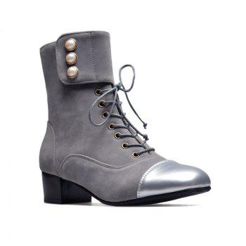 Low-Heeled Square with Thick Cashmere Patent Leather Fashion Boots - GRAY GRAY