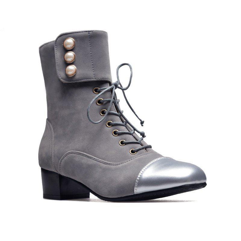 Low-Heeled Square with Thick Cashmere Patent Leather Fashion Boots - GRAY 43