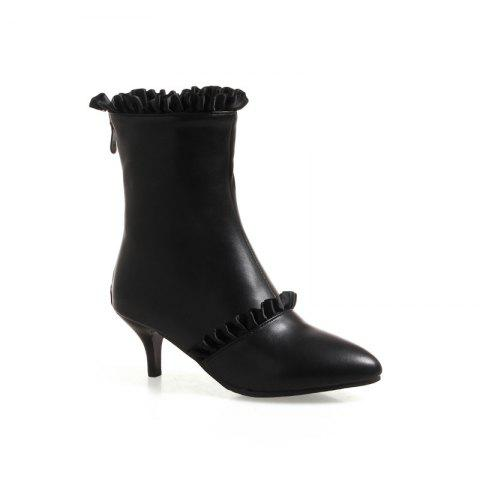 Thin Sweet Lace Skirt Boots - BLACK 40
