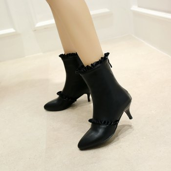 Thin Sweet Lace Skirt Boots - BLACK 42