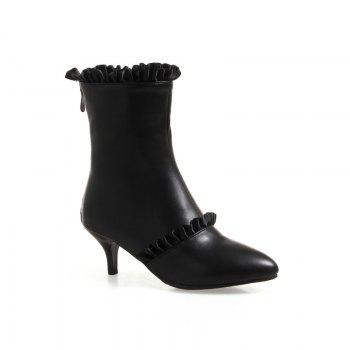 Thin Sweet Lace Skirt Boots - BLACK BLACK